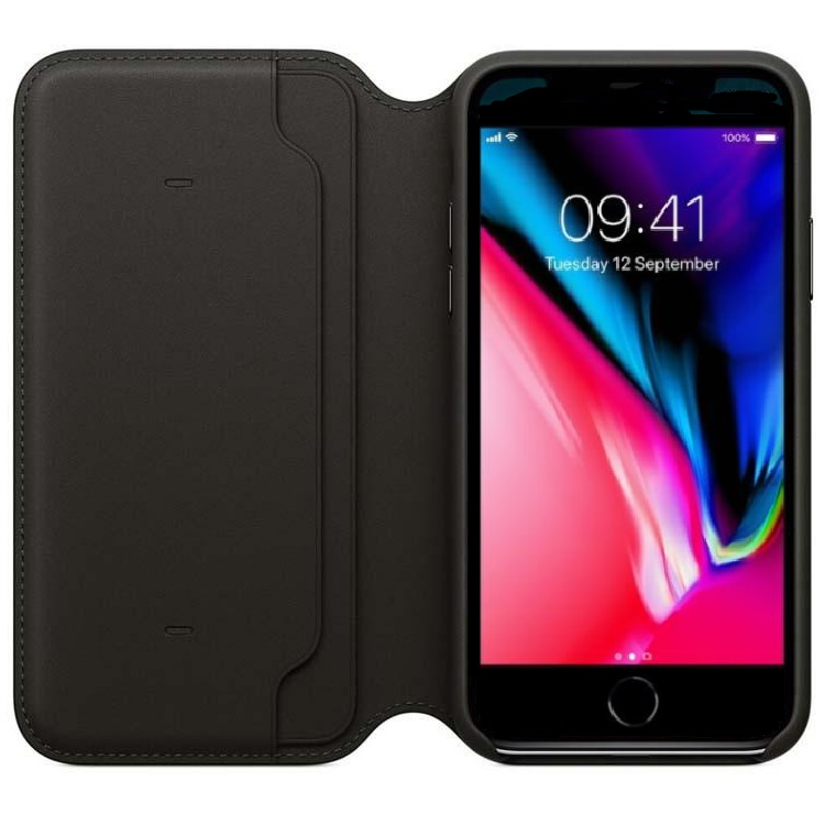 iPhone 7/8 Wallet Flip Case Black PU Leather