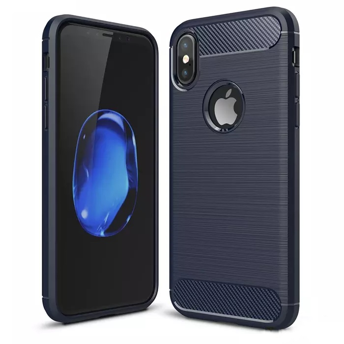 iPhone X Carbon Silicone Cover Blue